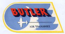Collectible old Airline luggage label Butler USA small company  #250